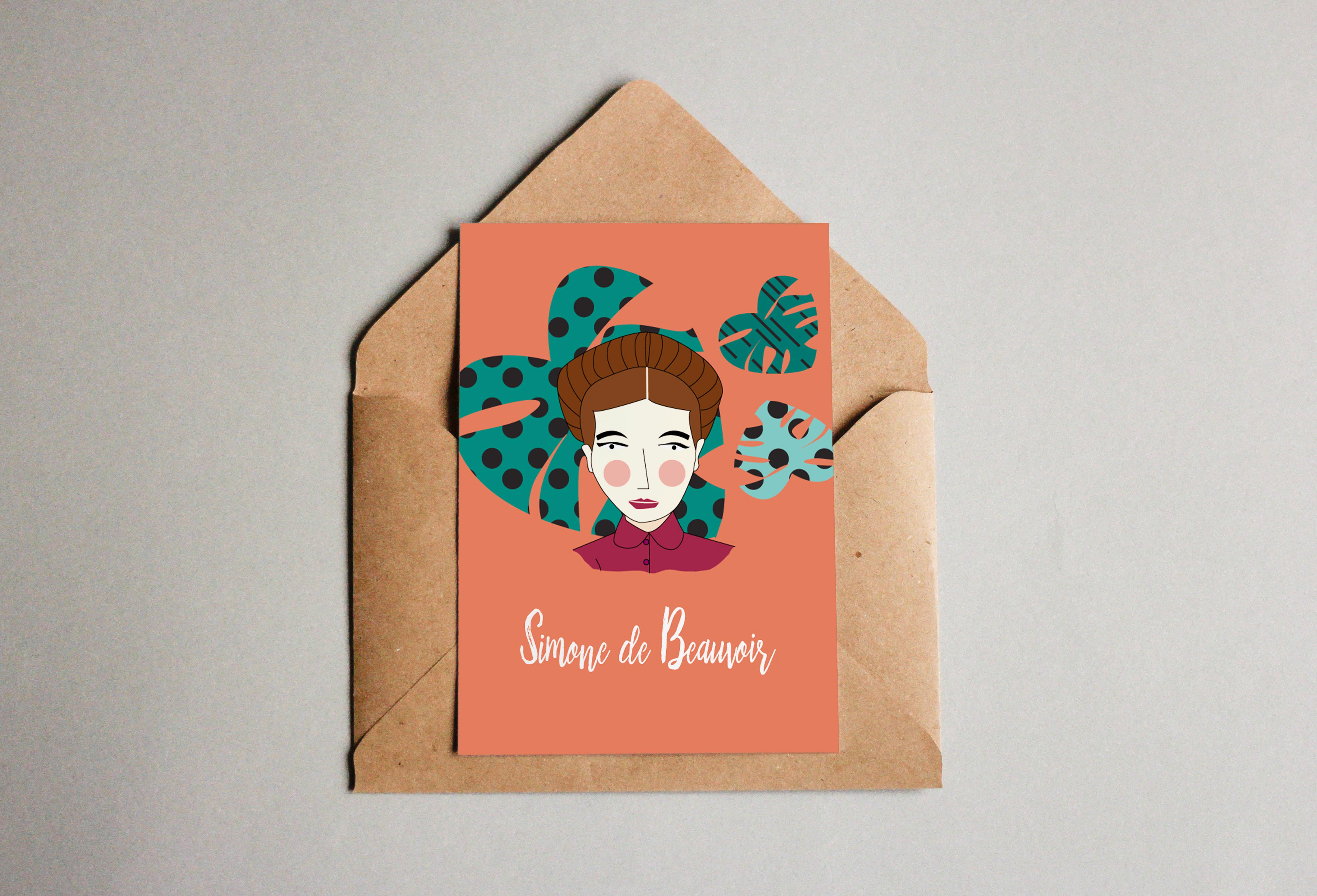sdb postcard - Feministyczny kalendarz na kwiecień. Simone de Beauvoir