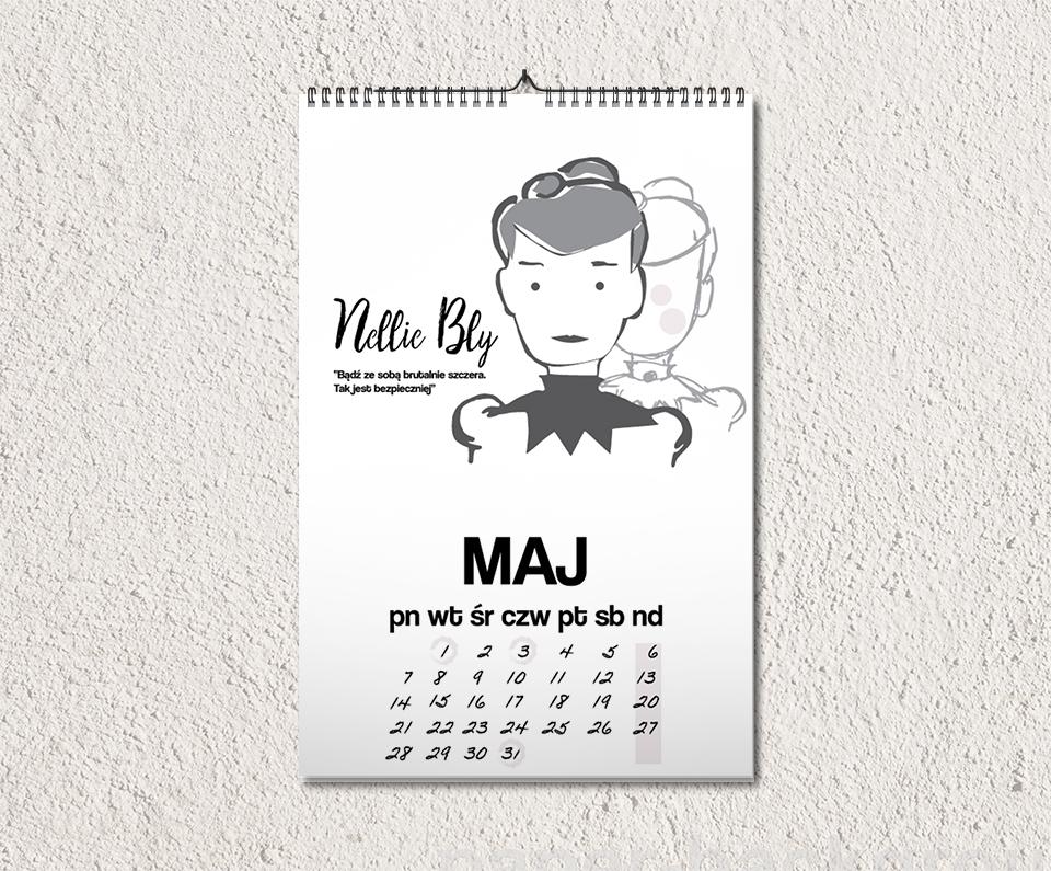 nellie kalendarz - Feministyczny kalendarz. Maj z Nellie Bly