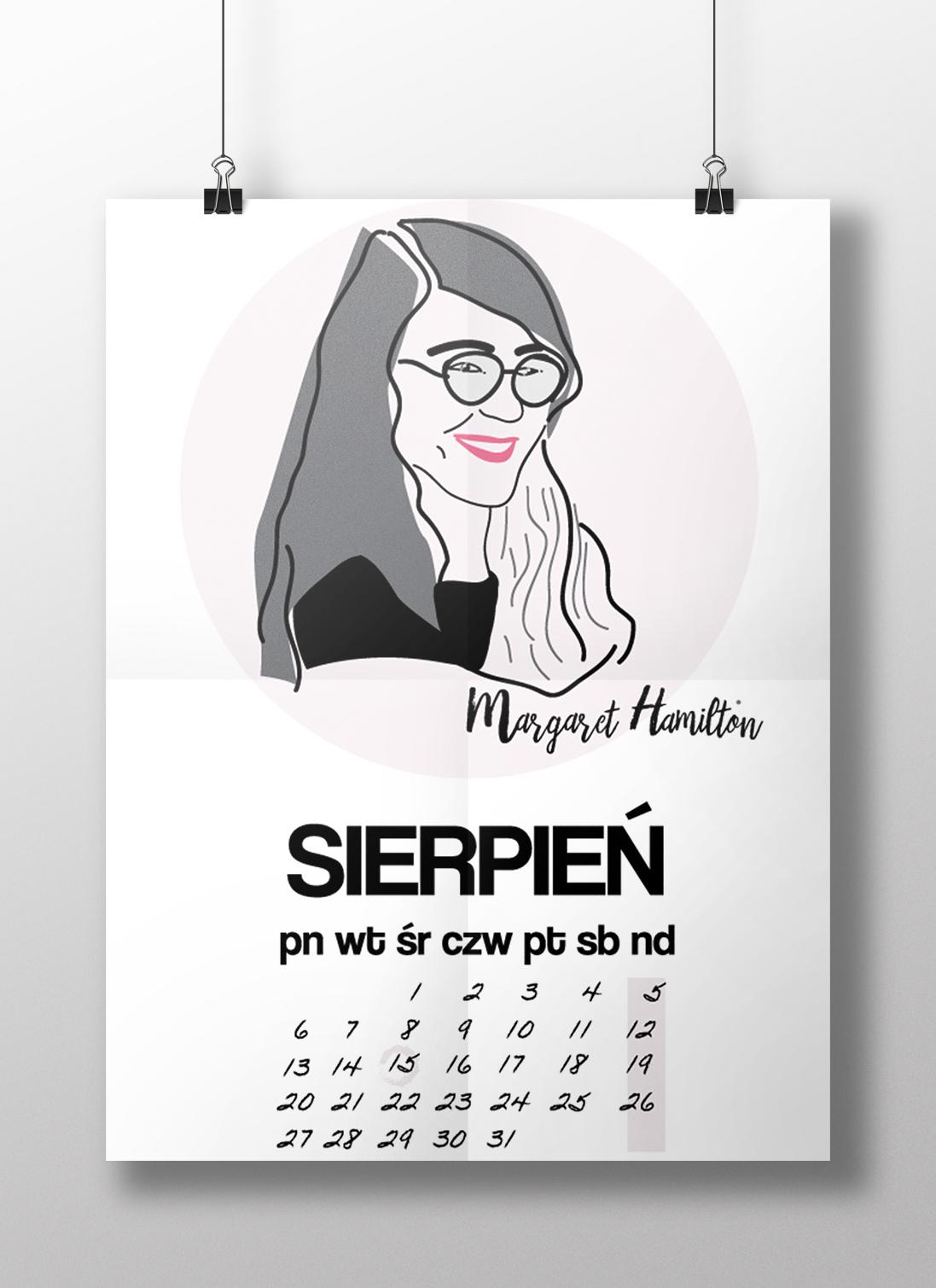hamilton kalendarz - Feministyczny kalendarz na sierpień. Margaret Hamilton