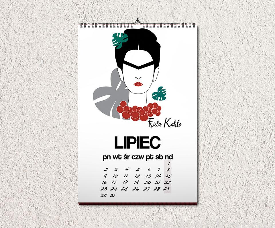 lipiec kalendarz - Feministyczny kalendarz. Frida Kahlo na lipiec